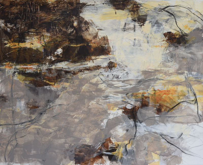 """Ash Creek"" contemporary abstract waterscape painting by Melody Cleary"