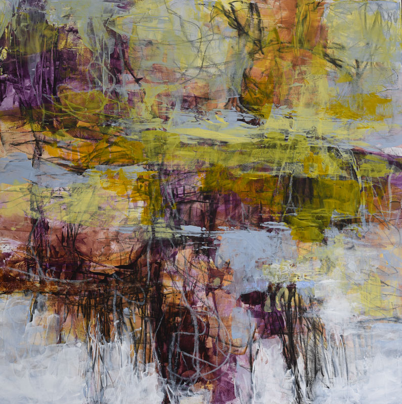 Abstract landscape nature painting October Whim by Melody Cleary