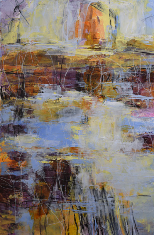 Wintry Mix abstract landscape painting by Melody Cleary